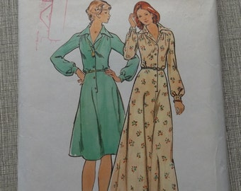Dress in Two Lengths with Semi-Fitted Bodice, Yokes and Flared Skirt in Size 12 Vintage Butterick Sewing Pattern 3945
