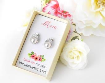 Mother of the Bride Gift, Earrings for Mom, Pearl Earrings, Wedding Gift, Gift for Mom, Jewelry for Mom, Swarovski Pearl Earrings K070