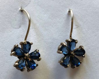 Sterling Silver Sapphire drop earrings flower