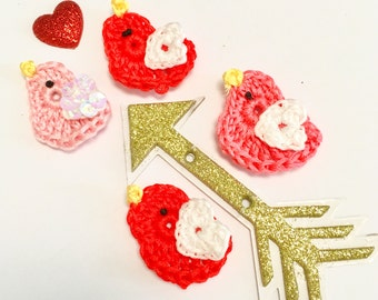 Cotton Love Birds, Crochet Tiny Birds, Love Birds, Crochet  Appliqués, Scrapbook, Barrettes, Jewelry, art projects