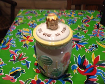 Vintage cute hand painted ceramic candy jar or canister with flip lid- Japan
