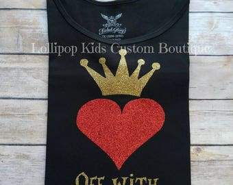 Queen of Hearts, off with their heads, Alice's Adventure in wonderland, short sleeve shirt*