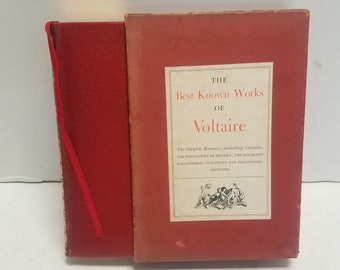 Vintage Antique Book, 1940 First Edition , The Best Known Works of Voltaire, Semi Hard Soft cover with book Slipcase