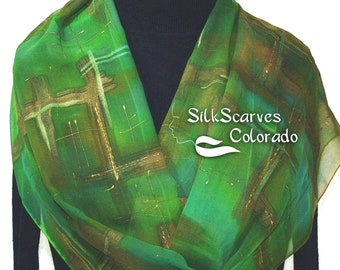 Silk Scarf Hand Painted Chiffon Silk Shawl Green Olive Brown Silk Scarf MYSTIC WOODS Extra Long 11x90 Birthday Gift Scarf Gift-Wrapped Scarf
