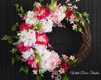 Pink Hydrangea and Peony Spring and Summer Front Door Wreath