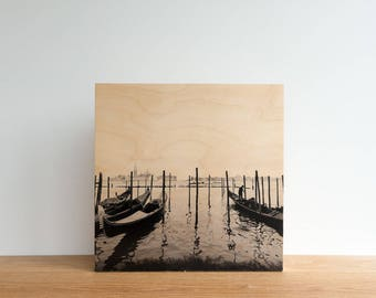 Italian Holiday, 'Day in Venice #1' Limited Edition, Image Transfer on Wood Panel by Patrick Lajoie, photo art block, italy photography