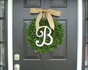 SPRING WREATH SALE Monogram Boxwood Wreath, Boxwood Monogram Wreath with Burlap Bow, Housewarming Gift, Wedding Wreath 20 Inch