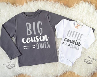 Big Cousin Little Cousin Personalized Shirts. Dark Gray Long Sleeve T-Shirt & White Baby Bodysuit Set. Cousin Shirts. Cousin Gifts.