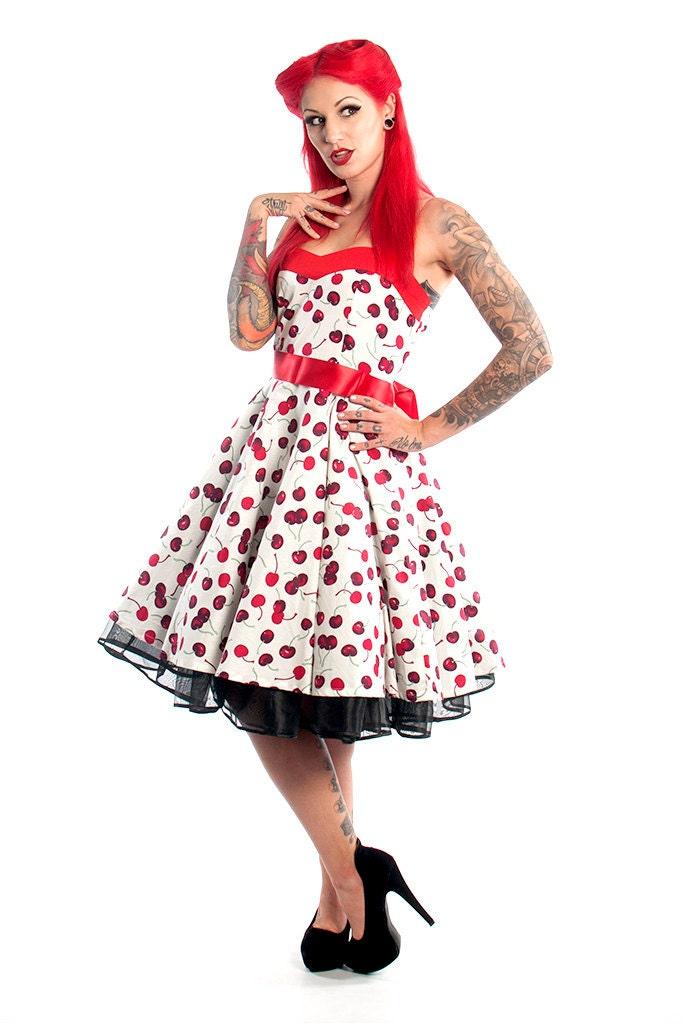 Cherry Dress Corset Dress Cherries Dress Rockabilly Dress