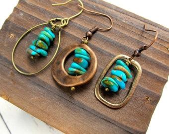 Genuine Turquoise Earrings-Raw Turquoise-Raw Stone Earrings-Southwestern Turquoise-Turquoise Earrings Dangle-Boho Turquoise Drop Earrings