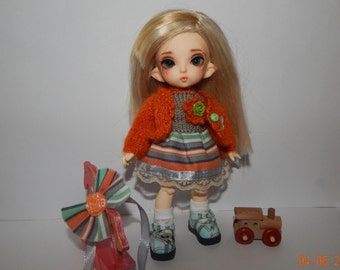 "PukiFee Aquarius Lati Yellow 15-16 сm BJD Set ""Red Beauty"" for dolls of Tiny format"