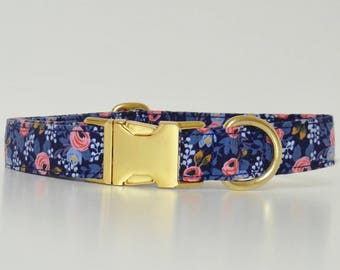 Blue Pink Floral Dog Collar Metal Hardware Le Fleur Wedding Accessories Spring Summer Collar Made to Order