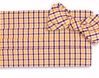 Purple and Gold Gingham Cummerbund Set - Self Tie Bow Tie and Adjustable Cummerbund Set - Purple and Gold Wedding Cummerbund Set