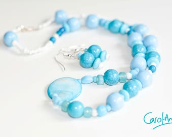 Necklace and Earring Set, Blue, 52cm [S1BL5200010]