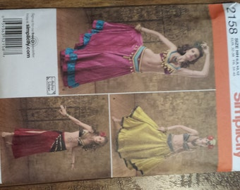 Simplicity sewing pattern 2158 bellydancer costume sizes 6-12