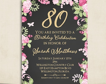 80th birthday invitation adult birthday party invite cottage chic chalkboard 80th birthday invitation any age adult gold vintage floral rose printable invite filmwisefo Image collections
