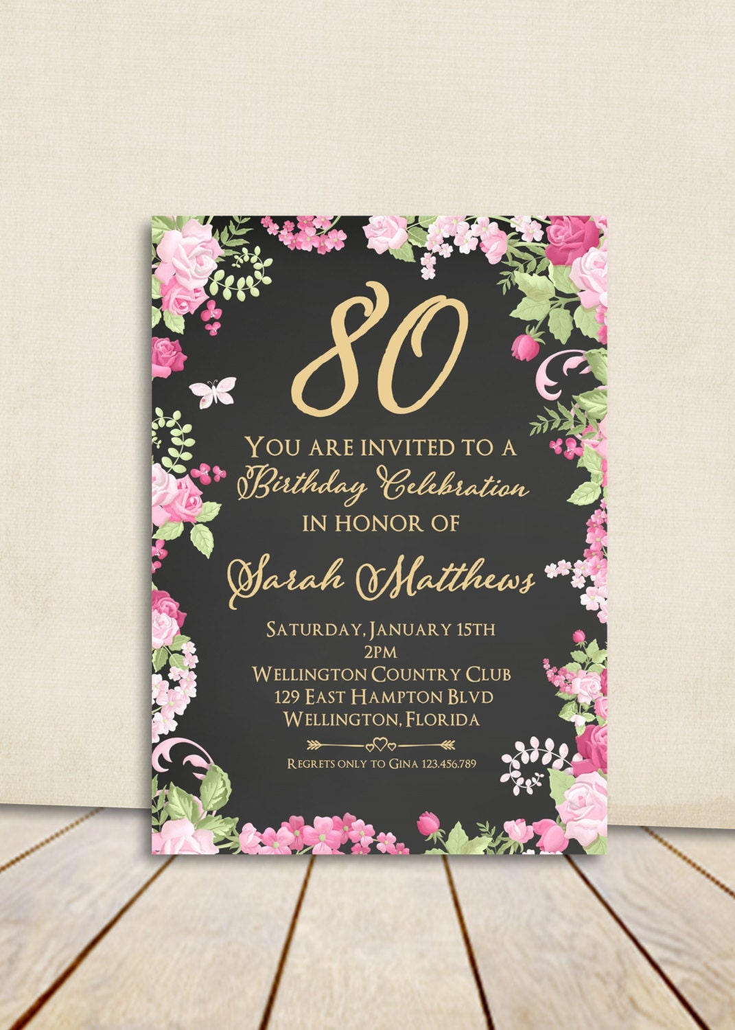 Cottage chic chalkboard 80th birthday invitation any age adult zoom filmwisefo