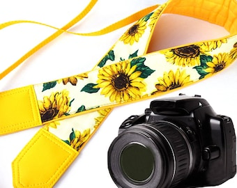 Sunflowers camera strap. Yellow flowers Camera strap. DSLR / SLR Camera Strap. Strap covers by InTePro