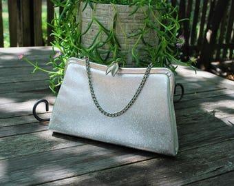 Vintage silver evening bag/Formal clutch/Silver purse/1930s clutch/Chain strap clutch/Prom/Wedding/Retro purse