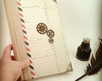 Antique, Steampunk writing Journal, lined pages, Journal, Bookmark, Diary, Notebook, gift for writers, writing journal, cogs, magical diary