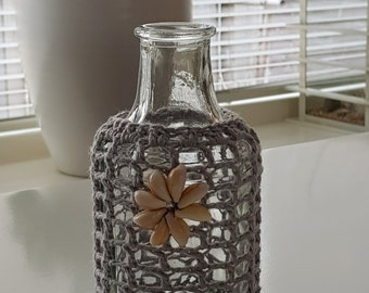 Crocheted Glass bottle with sea shells