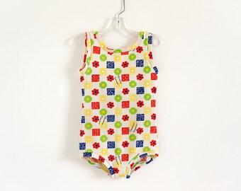 "Vintage 1960s Childs Girls Size 4-5 Swimsuit, Florence Eiseman One Piece Bathing Suit, Mod Geometric Novelty Print B22"" L20"""