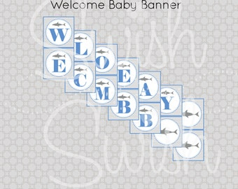 Shark Baby Shower Welcome Baby Banner | Printable Digital file | Instant download | Shark party ideas | Shark party | gray grey chevron blue