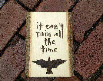 It Can't Rain All the Time Wood Burned Wall Art, The Crow fan art, Eric Draven art, Wood Burning Art