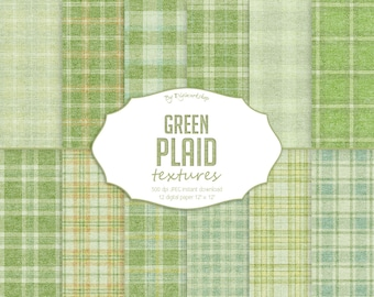 Green Plaid Digital Paper, Green Plaid Textures, st. patrick's digital papers, fabric tartan pattern, springtime backgrounds, irish paper.