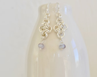 Beaded Chainmaille Earrings - Lavender Beaded Czech Chainmaille Earrings - Sterling Plated Earrings - By BALOOS STUDIO