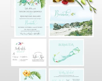 Bermuda Destination wedding invitation Beach island tropical wedding floral illustrated wedding invitation - Deposit Payment