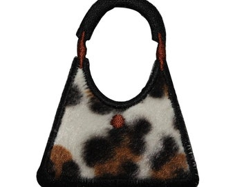 ID 8366 Fuzzy Leopard Print Purse Patch Bag Fashion Embroidered Iron On Applique
