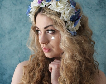 Mixed pastel butterfly flower crown, flower garland, Lana Del Ray, Wedding headpiece, nature inspired, vintage inspired, rustic rose, love.