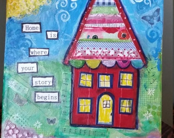Whimsical House Mixed Media Canvas, Wonky Torn Paper Collage, Home Decor, Cheerful Art, Inspirational Quote