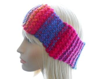 Wavy Headband, Women's Knit Headband, Wool - Blend Earwarmer in Rainbow Colors, Small to Medium Size