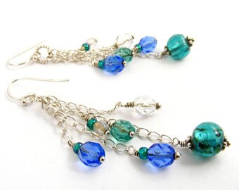 Pretty Teal Green and Sapphire Blue Cascade Earrings, Bohemian Dangles with Beaded Chain Fringe