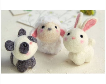 NEW 2017 Needle Felting Kit Three Little Pets By Hamanaka H441-481 Panda Rabbit and Sheep 小さなお友達 どうぶつたち