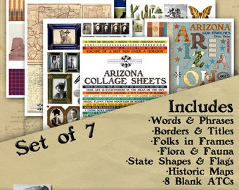 Arizona Digital Collage Sheets, Vintage Image Printable, ATC, Instant Download, Americana