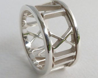 Custom Date Roman Numeral Ring in Sterling Silver, 10mm Wide Band with Open Background