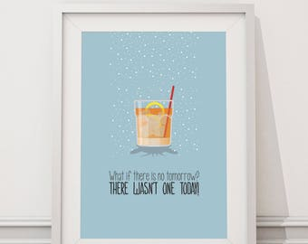 Groundhog Day - What if there's no tomorrow? Quote Minimal Style Poster Print