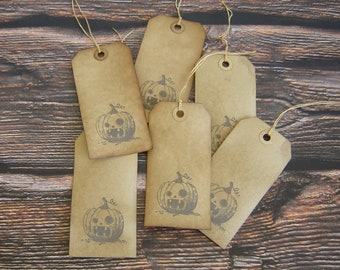 Large Pumpkin Hang Tags ~ Coffee Stained ~ Primitive Farmhouse Tags ~ Halloween Gift Tags ~ Handmade