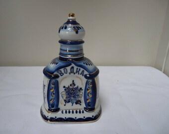 Vintage Russian Gzhel Porcelain Decanter