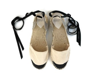 Espadrille Sandals. Lace up French Style Espadrilles in Cream and Black. Summer Leather and Fabric Shoes. Women's Sandals. Greek Sandals.