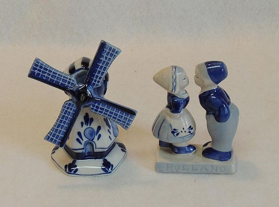 "2 Delft Vintage Hand Painted Pieces.. 4.5"" Windmill And Kissing Boy & Girl Figurine.. Marked"