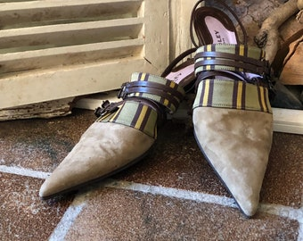 AUDLEY vintage pumps, leather, suede, female 36 EU/3 UK, London UK, made in Spain.