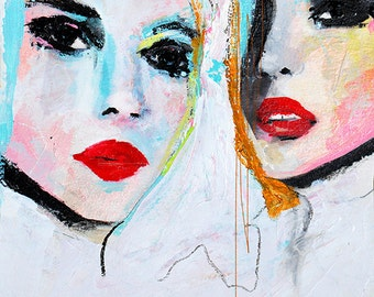 Proneness  Version 2 - Fashion Illustration Art Print, Portrait, Mixed Media Painting by Leigh Viner