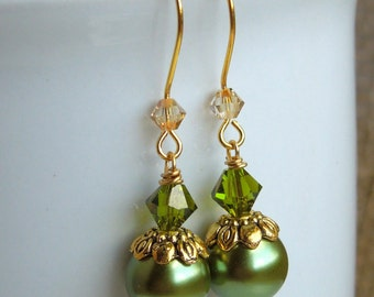 Green Dangle Pearl and Champagne Crystal Drop Earrings in Gold - Olive Green, Antique Brass and Taupe Simple Pearl Jewelry Matching Necklace