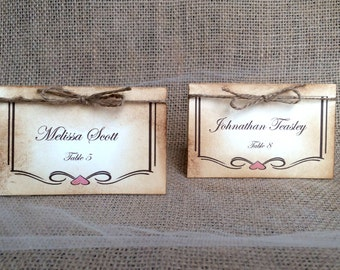 Beautiful Rustic Place Cards - Wedding, Vintage, Twine, Wedding Tags