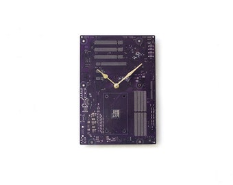 Dark Purple Large Wall Clock - Circuit Board Clock - Computer Clock - Unique Wall Clock - Unique Gift - Boyfriend Gift - Husband Gift