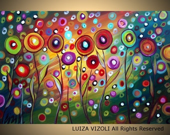 POPPIES SUNSET 60x36 Large Canvas Modern Abstract Fantasy Whimsical Flowers  by Luiza Vizoli